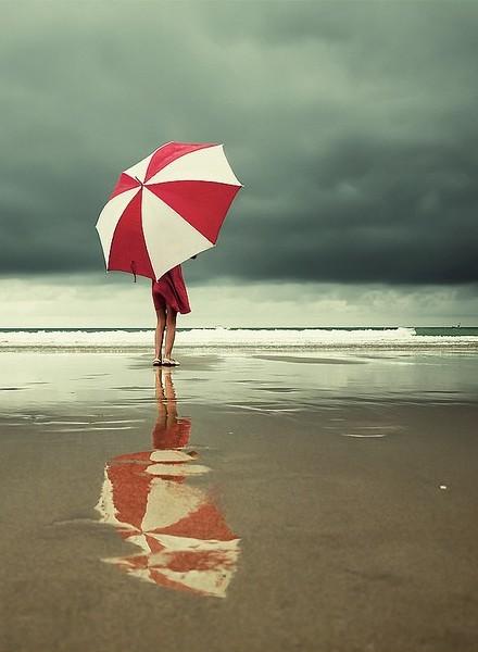 BY THE BOARDWALK 2 rainy day red umbrella beach via tinydaisies
